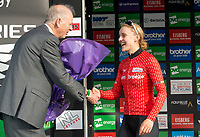 Picture by Allan McKenzie/SWpix.com - 15/05/2018 - Cycling - OVO Energy Tour Series Womens Race - Round 2:Motherwell - Megan Barker receives the winners prize at Motherwell.