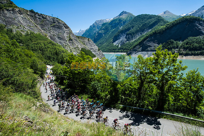The peloton on the slopes of Col de Sarenne during Stage 7 of the Criterium du Dauphine 2017, running 168km from Aoste to Alpe d'Huez, France. 10th June 2017. <br /> Picture: ASO/A.Broadway | Cyclefile<br /> <br /> <br /> All photos usage must carry mandatory copyright credit (&copy; Cyclefile | ASO/A.Broadway)