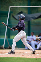 GCL Yankees West shortstop Sincere Smith (3) hits a single for his first professional hit during the second game of a doubleheader against the GCL Braves on July 30, 2018 at Champion Stadium in Kissimmee, Florida.  GCL Braves defeated GCL Yankees West 5-4.  (Mike Janes/Four Seam Images)