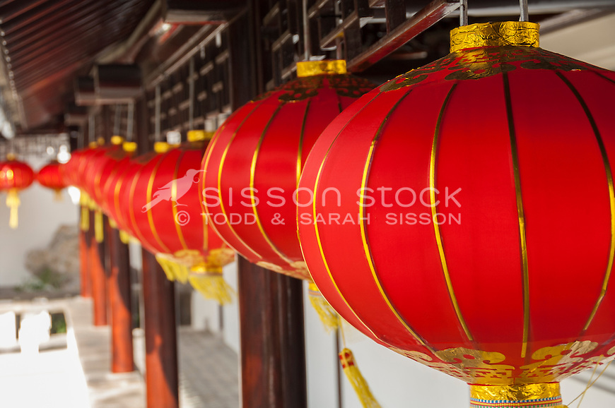 Close up of red Chinese lanterns hangin at the Dunedin Chinese Gardens, Otago, New Zealand - stock photo, canvas, fine art print