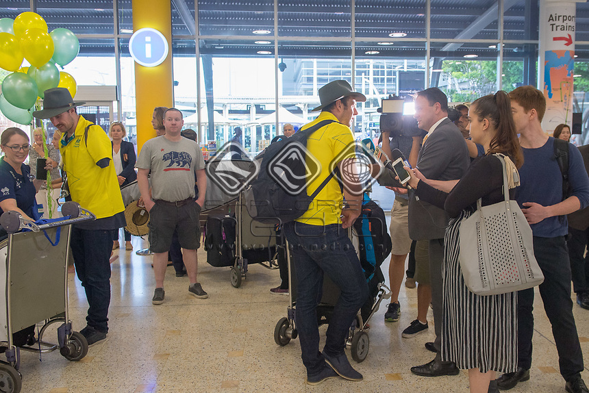 Welcome home - Sydney airport / Shaun Pianta <br /> PyeongChang 2018 Paralympic Games<br /> Australian Paralympic Committee<br /> Sydney International Airport<br /> PyeongChang South Korea<br /> Tuesday March 20th 2018<br /> &copy; Sport the library / Jeff Crow