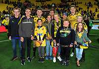 Beaquden and Jordy Barrett with family members after during the Super Rugby match between the Hurricanes and Crusaders at Westpac Stadium in Wellington, New Zealand on Saturday, 10 March 2018. Photo: Dave Lintott / lintottphoto.co.nz