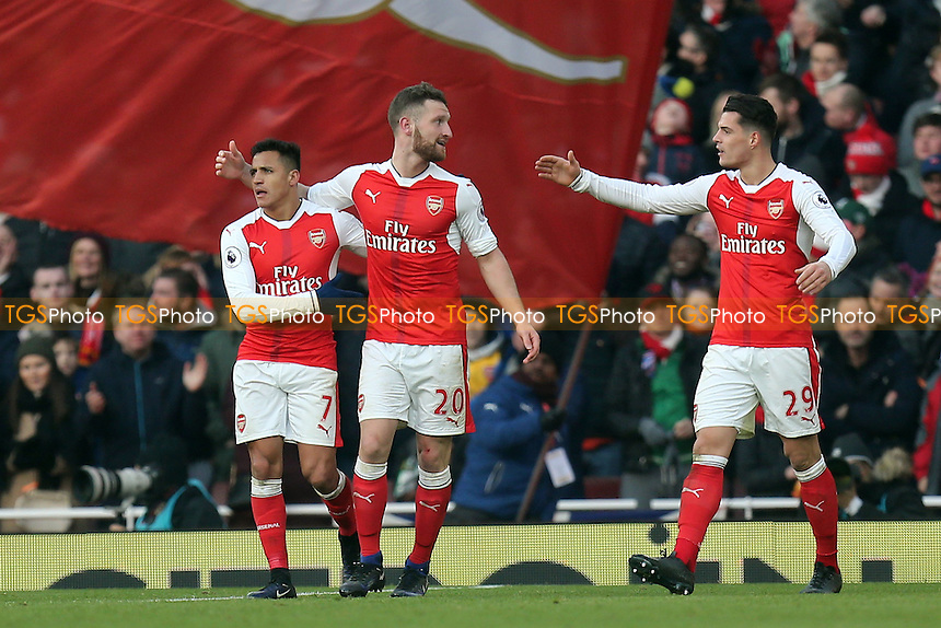 Shkodran Mustafi of Arsenal is congratulated after scoring the opening goal during Arsenal vs Burnley, Premier League Football at the Emirates Stadium on 22nd January 2017