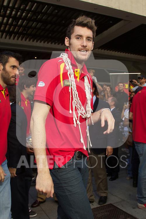 La seleccion espanola de baloncesto celebra el Campeonato de Europa con una comida en el Meson Txistu de Madrid, 19 septiembre 2011. Rudy Fernandez...Photo: Cesar Cebolla / ALFAQUI..