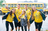 Freshmen Cianna Lynch, Noah Medeiros, Marley MacPherson, Ryan Costa and Victoria Schwendeman get ready to board their bus with other Salve Regina students as they begin their day of community service on Aquidneck Island.