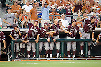 Texas A&M Aggies bench celebrates scoring the go ahead run in their game the against the Texas Longhorns in NCAA Big XII Conference baseball on May 21, 2011 at Disch Falk Field in Austin, Texas. (Photo by Andrew Woolley / Four Seam Images)