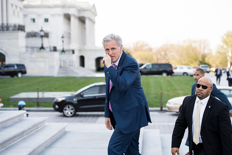 UNITED STATES - APRIL 18: House Majority Leader Kevin McCarthy, R-Calif., walks up the House steps as he arrive at the Capitol for the final votes of the week on Wednesday, April 18, 2018. (Photo By Bill Clark/CQ Roll Call)