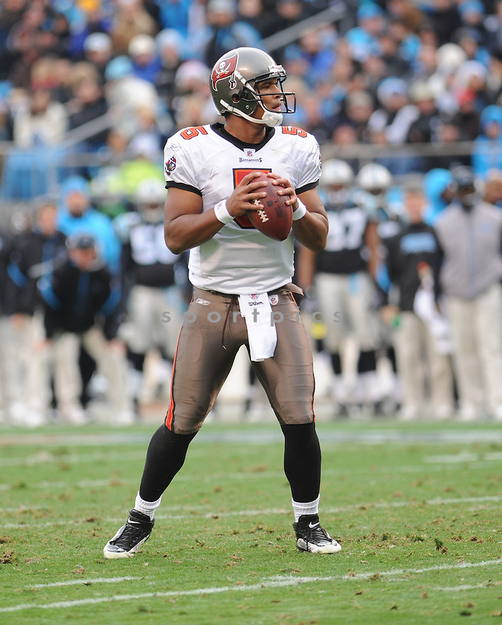 Josh Freeman of the Tampa Bay Buccaneers in action during the Buccaneers game against the Carolina Panthers on December 6, 2009 in Charlotte, North Carolina. Panthers won 16-6...