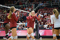 STANFORD, CA - September 9, 2018: Kathryn Plummer, Jenna Gray, Tami Alade, Morgan Hentz, Audriana Fitzmorris, Meghan McClure at Maples Pavilion. The Stanford Cardinal defeated #1 ranked Minnesota 3-1 in the Big Ten / PAC-12 Challenge.