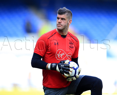 5th May 2018, Goodison Park, Liverpool, England; EPL Premier League Football, Everton versus Southampton; Fraser Forster, Southampton goalkeeper warms up before the match