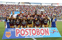 IBAGUE -COLOMBIA, 9-NOVIEMBRE-2014. Formacion del Deportes Tolima  frente a Millonarios  durante cuadrangulares finales de La Liga Postobon  Partido por la fecha 18 de la Liga Postobón 2014- II contra el Tolima  jugado en el estadio Manuel  Murillo Toro de la ciudad de Ibague./  Team  of Deportes Tolima against Millonarios   the final runs of La Liga Postobon and be his last performance for 2014. Party date 18th  2014 Postobón League II  against Tolima played  Manuel Murillo Toro stadium in Ibague city.Photo / VizzorImage / Andrew Indell / Staff