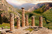 The ruins of the 4th century BC Temple of Apollo , a peripteral Doric building.  Delphi, archaeological site, Greece,