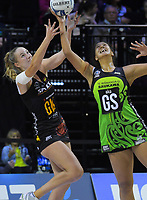Kelly Jury and Aaliyah Dunn compete for the ball during the ANZ Premiership netball match between Central Pulse and WBOP Magic at TSB Bank Arena in Wellington, New Zealand on Sunday, 21 April 2019. Photo: Dave Lintott / lintottphoto.co.nz