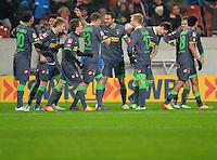 FUSSBALL   1. BUNDESLIGA  SAISON 2011/2012   19. Spieltag   29.01.2012 VfB Stuttgart - Borussia Moenchengladbach    TEAMJUBEL Borussia Moenchengladbach nach dem Tor zum 0-3