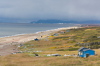 Fish camps along the coast of Norton Sound, Bering Sea, along Alaska's western arctic coast near Nome.
