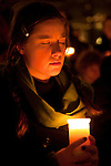 A coaltion of civil society and NGO's holds a vigil for Survival in downtown Copenhagen. After being locked out of the Bella center and shut out of the process, civil society used the moment to reaffirm their dedication to solving the climate crisis.  (Images free for Editorial Web usage for Fresh Air Participants during COP 15. Credit: Robert vanWaarden)