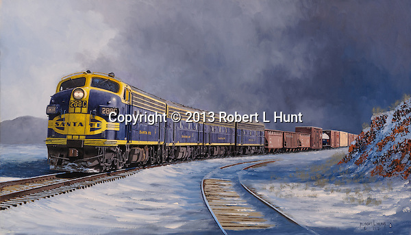 "Santa Fe F units pulling a freight train out of a winter storm squall and into the sunlight in the high desert near Flagstaff, Arizona. Oil on canvas, 16"" x 28""."