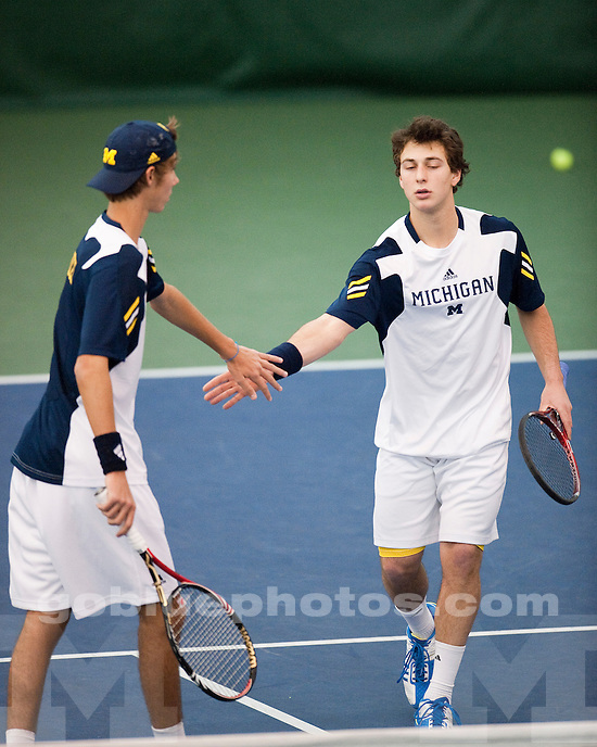 University of Michigan men's tennis team 6-1 victory over #21 Wake Forest at the Varsity Tennis Center in Ann Arbor, MI, on February 5, 2011.