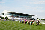 August 10, 2019 : The field enters the first turn during the Arlington Million during Arlington Million Day at Arlington International Racecourse in Arlington Heights, Illinois. Bricks and Mortar, ridden by Irad Ortiz Jr., won the race. Jon Durr/Eclipse Sportswire/CSM