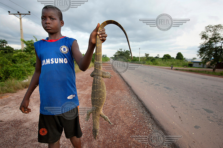A young boy holds up a monitor lizard that he is selling on the roadside.