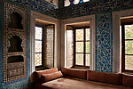 Detail of a room decorated with Iznik style tiles in Topkapi Palace, the 15th century palace where sultans lived for 400 years