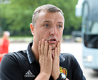 20170725 - TILBURG , NETHERLANDS :  Belgian head coach Ives Serneels pictured going back to Belgium as the Belgian national women's soccer team Red Flames was not able to qualify for the quarter finals after a loss against The Netherlands , on Tuesday 25 July 2017 in Tilburg . The Red Flames finished on 3 th place in Group A at the Women's European Championship 2017 in the Netherlands. PHOTO SPORTPIX.BE | DAVID CATRY