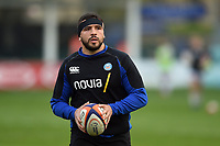 Lucas Noguera of Bath United looks on during the pre-match warm-up. Premiership Rugby Shield match, between Bath United and Gloucester United on April 8, 2019 at the Recreation Ground in Bath, England. Photo by: Patrick Khachfe / Onside Images