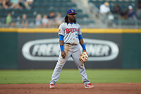 Buffalo Bisons third baseman Alen Hanson (31) on defense against the Charlotte Knights at BB&T BallPark on July 24, 2019 in Charlotte, North Carolina. The Bisons defeated the Knights 8-4. (Brian Westerholt/Four Seam Images)