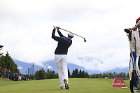 Matthew Fitzpatrick (ENG) tees off the 7th tee during Sunday's Final Round of the 2017 Omega European Masters held at Golf Club Crans-Sur-Sierre, Crans Montana, Switzerland. 10th September 2017.<br /> Picture: Eoin Clarke | Golffile<br /> <br /> <br /> All photos usage must carry mandatory copyright credit (&copy; Golffile | Eoin Clarke)