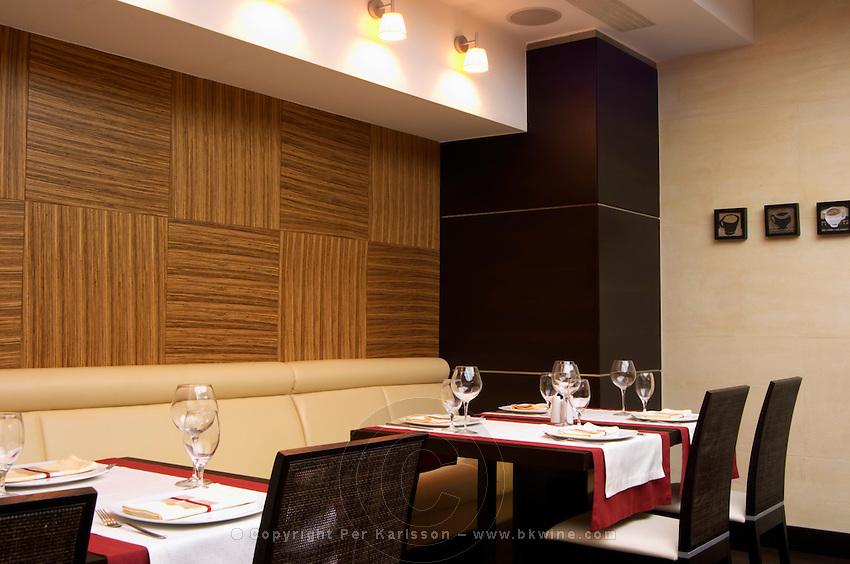 The restaurant Stara Kuca with modern decoration. Podgorica capital. Montenegro, Balkan, Europe.