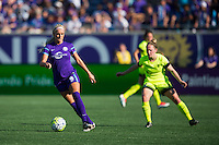 Orlando, Florida - Sunday, May 8, 2016: Orlando Pride midfielder Kaylyn Kyle (6) turns away from Seattle Reign FC midfielder Kim Little (8) during a National Women's Soccer League match between Orlando Pride and Seattle Reign FC at Camping World Stadium.