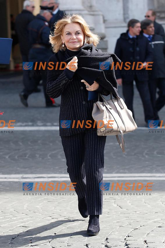 Augusta Iannini, moglie di Bruno Vespa<br /> Roma 12-03-2015 Piazza del Quirinale. Inaugurazione dell'Anno Giudiziario alla Consulta.<br /> Photo Samantha Zucchi Insidefoto