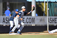 Columbia Fireflies third baseman Mark Vientos (13) fields a throw during a game against the Asheville Tourists at McCormick Field on June 22, 2019 in Asheville, North Carolina. The Tourists defeated the Fireflies 6-5. (Tony Farlow/Four Seam Images)