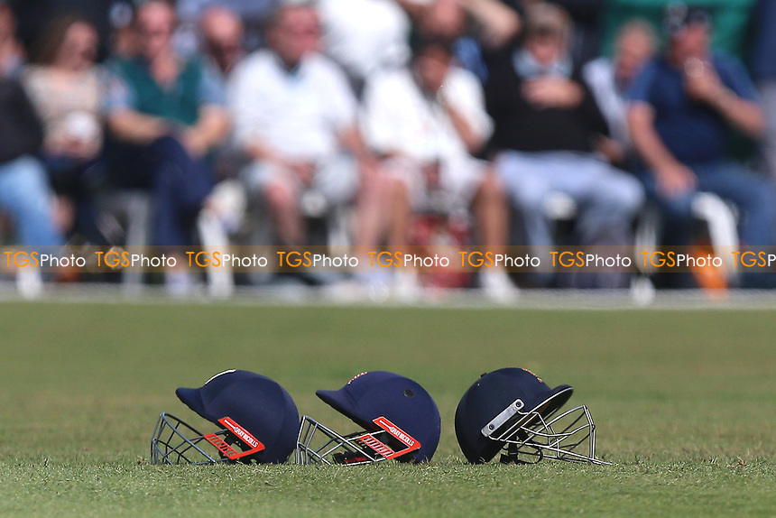 Three Essex helmets in the outfield during Surrey CCC vs Essex CCC, Specsavers County Championship Division 1 Cricket at Guildford CC, The Sports Ground on 9th June 2017