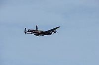 "Henley on Thames, United Kingdom, 24th June 2018, Sunday, ""Henley Women's Regatta"", view, ""Fly Past"", Avro Lancaster, of the ""RAF's Battle of Britain Memorial Flight"", Henley Reach, River Thames, Thames Valley, England, © Peter SPURRIER,  24/06/2018"