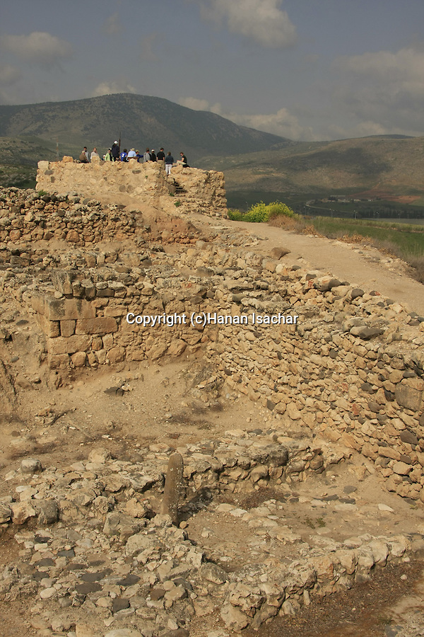Israel, Upper Galilee. The Israelite tower at the northwestern corner of Tel Hazor, a World Heritage site