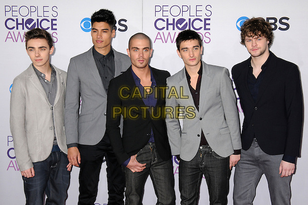 The Wanted - Nathan Sykes, Siva Kaneswaran, Max George, Tom Parker & Jay McGuiness.People's Choice Awards 2013 - Arrivals held at Nokia Theatre L.A. Live, Los Angeles, California, USA..January 9th, 2013.half length black blue grey gray suit jacket band group .CAP/ADM/BP.©Byron Purvis/AdMedia/Capital Pictures.