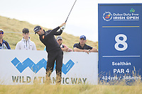 Gregory Bourdy (FRA) on the 8th tee during Round 2 of the Dubai Duty Free Irish Open at Ballyliffin Golf Club, Donegal on Friday 6th July 2018.<br /> Picture:  Thos Caffrey / Golffile