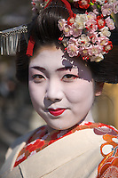 Kyoto City, Japan<br /> Kiyomizu Temple, portrait of a geisha in traditional make-up