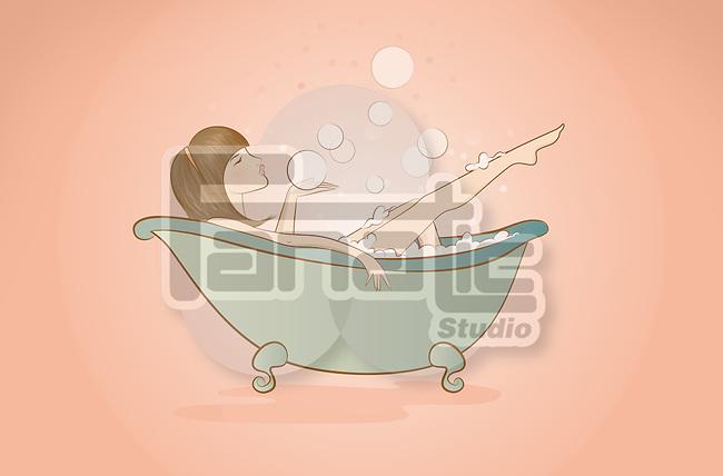 Illustration of woman bathing in bathtub