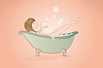 Illustration of woman bathing in bathtub