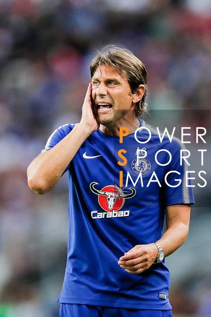 Chelsea Head Coach Antonio Conte reacts during the International Champions Cup match between Chelsea FC and FC Bayern Munich at National Stadium on July 25, 2017 in Singapore. Photo by Marcio Rodrigo Machado / Power Sport Images