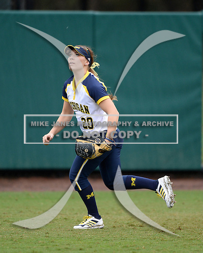 Michigan Wolverines outfielder Mary Sbonek (20) during warmups before the season opener against the Florida Gators on February 8, 2014 at the USF Softball Stadium in Tampa, Florida.  Florida defeated Michigan 9-4 in extra innings.  (Copyright Mike Janes Photography)
