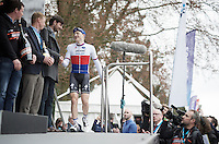race winner Petr Vakoc (CZE/Etixx-QuickStep) steps onto the podium<br /> <br /> 56th De Brabantse Pijl - La Fl&egrave;che Braban&ccedil;onne (1.HC)