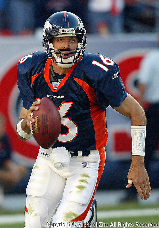 Jake Plummer  In a NFL game played at Invesco Field where the Denver Broncos defeated the Detroit Lions 20-16