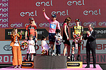 Maglia Rosa Richard Carapaz (ECU) Movistar Team wins the overall general classification with Vincenzo Nibali (ITA) Bahrain-Merida 2nd and Primoz Roglic (SLO) Team Jumbo-Visma 3rd place at the end of Stage 21 the final stage of the 2019 Giro d'Italia, an individual time trial running 17km from Verona to Verona, Italy. 2nd June 2019<br /> Picture: Fabio Ferrari/LaPresse | Cyclefile<br /> <br /> All photos usage must carry mandatory copyright credit (© Cyclefile | Fabio Ferrari/LaPresse)