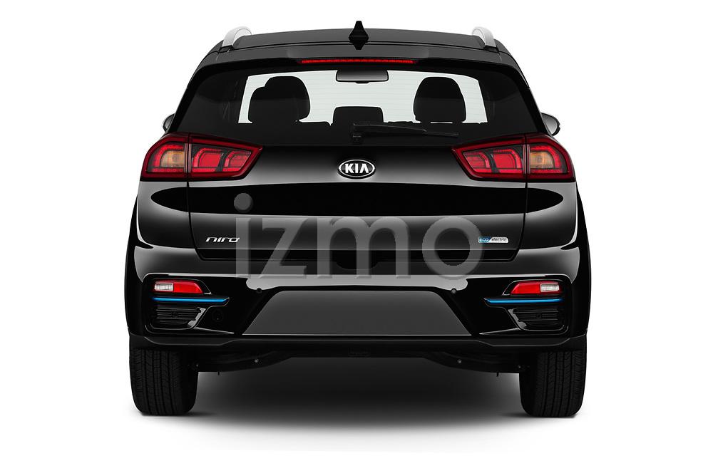 Straight rear view of a 2019 KIA Niro-EV  EX-Premium 5 Door Hatchback stock images
