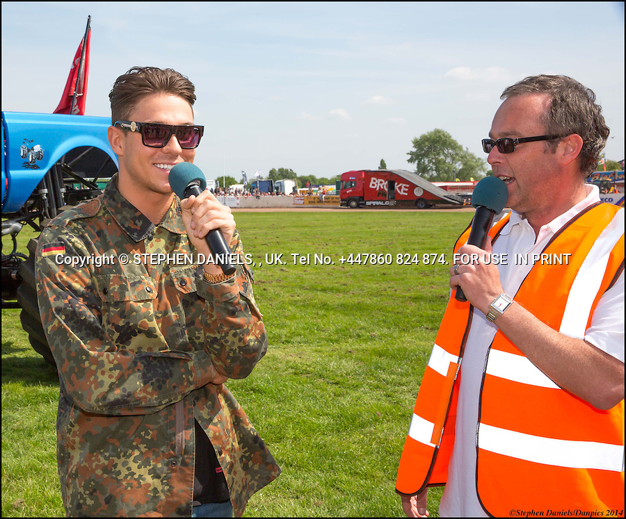 Joey Essex &amp; Michelle Keegan at Truckest show Peterborough<br /> *NO INTERNET USE PERMITTED*  PRINT MEDIA ONLY<br /> &gt;<br /> DANPIC's; Photo by &copy; Stephen Daniels 05/05/2014 <br /> Michelle Keegan meets the crowds at Peterborough Truckfest lorry show, Peterborough, Cambs. Showing off her engagement ring<br /> &gt;<br /> Minimum Fee &pound;2,000,000+vat if use on web or not cleared before any use and/or publication<br /> &gt;<br /> All images supplied under the terms and condition of <br /> Stephen Daniels and not publication which use them.<br /> All images which is the copyright of Stephen Daniels<br /> and/or DANPICS are supplied under the terms and <br /> condition of Stephen Daniels<br /> &gt;<br /> Words by Medialincs Tel 07933 676119 Richard Vamplew