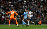 Newcastle United's Martin Dubravka and Florian Lejeune defend from Tottenham Hotspur's Harry Kane<br /> <br /> Photographer Rob Newell/CameraSport<br /> <br /> The Premier League - Tottenham Hotspur v Newcastle United - Wednesday 9th May 2018 - Wembley Stadium - London<br /> <br /> World Copyright &copy; 2018 CameraSport. All rights reserved. 43 Linden Ave. Countesthorpe. Leicester. England. LE8 5PG - Tel: +44 (0) 116 277 4147 - admin@camerasport.com - www.camerasport.com