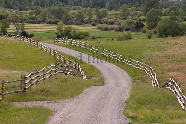 A Country Gravel Driveway With Curvy Post Fence Leads The Eye To Green Foiliage